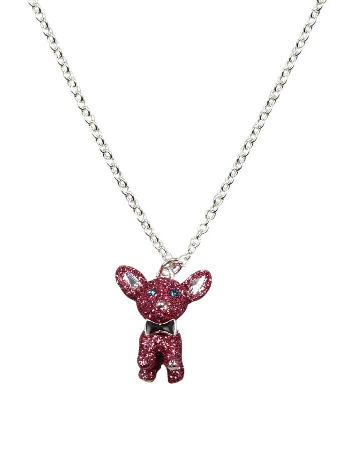 Pink Glitter Dog Necklace   Necklaces   Jewelry   Shop Justice