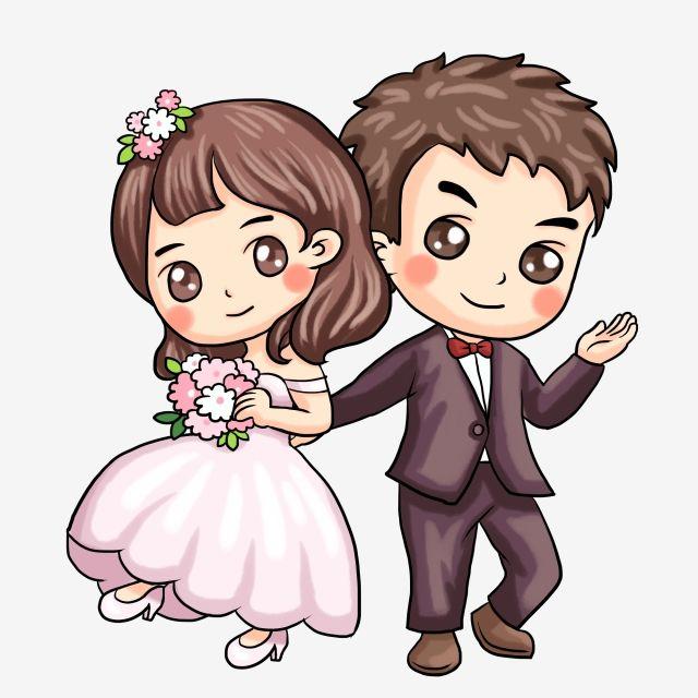 Painted Western Style Wedding Couple Illustration Married Couple