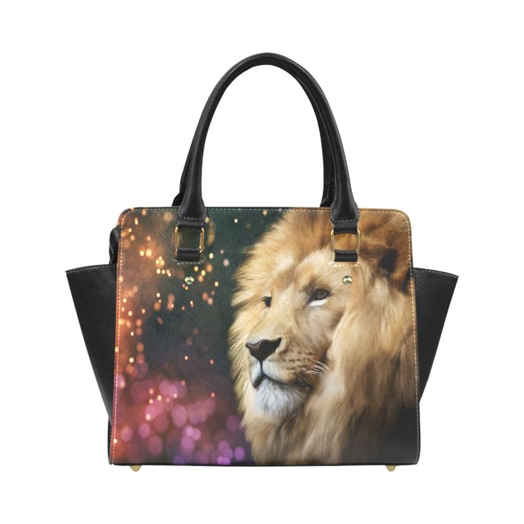 Male lion digital painting Classic Shoulder Handbag by Tracey Lee Art Designs