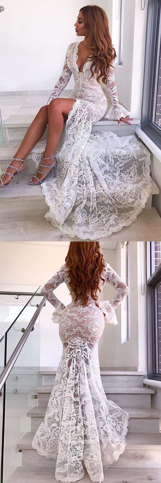 Mermaid Deep V-Neck Sweep Train Long Bell Sleeves White Split Lace Wedding Dress