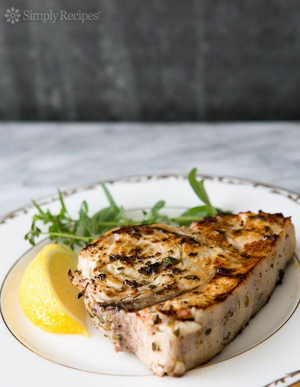 Grilled Swordfish Steaks with Lemon Oregano Marinade ~ Grilled swordfish steaks that have marinated in olive oil, lemon juice, oregano, thyme and garlic ~ SimplyRecipes.com