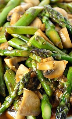 Asparagus and Mushroom Stir-Fry Recipe Add some chicken and rice and you've got a quick and easy meal. Not to mention great leftovers!