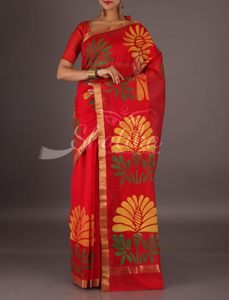 Nancy Red With Lace Border Full Bloom Marigolds Chanderi Block Printed Saree