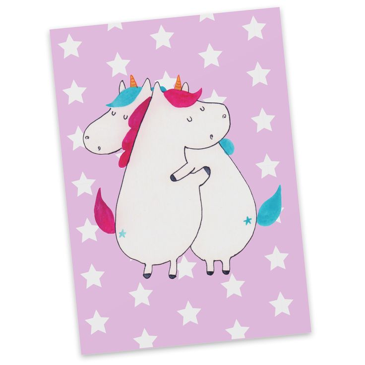 Postkarte Einhörner Umarmen aus Karton 300 Gramm  weiß - Das Original von Mr. & Mrs. Panda.  Diese wunderschöne Postkarte aus edlem und hochwertigem 300 Gramm Papier wurde matt glänzend bedruckt und wirkt dadurch sehr edel. Natürlich ist sie auch als Geschenkkarte oder Einladungskarte problemlos zu verwenden. Jede unserer Postkarten wird von uns per hand entworfen, gefertigt, verpackt und verschickt.    Über unser Motiv Einhörner Umarmen  Die umarmenden Einhörner sind das ultimative Geschenk…