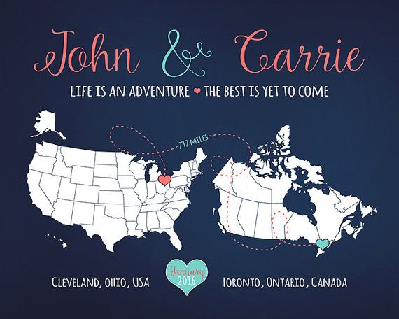 Wedding Display, His and Hers, Bride and Groom Hometowns, USA and Canada, Long Distance Wedding, Coral, Blue, Maps, Travel Theme