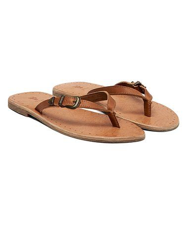 756033a32ef293 Loving this Brown Ally Western Leather Flip-Flop - Women on  zulily!   zulilyfinds