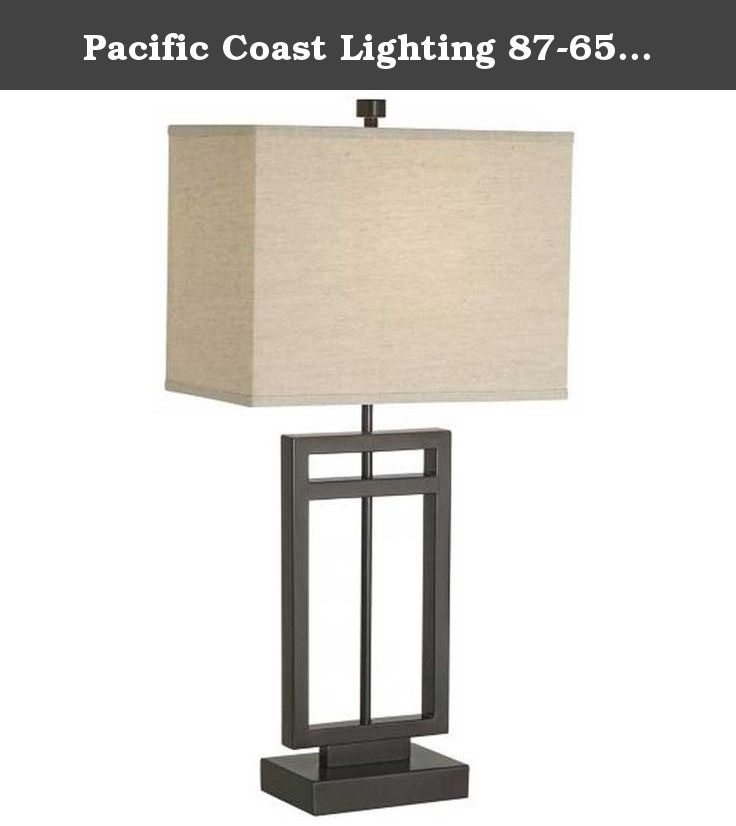 Pacific Coast Lighting 87-6576-20 Central Loft 1-Light Table Lamp, Bronze Finish with Linen Fabric Shade. Pacific Coast Lighting 87-6576-20 Central Loft 1-Light Table Lamp features a transitional design finished in a warm Bronze and complemented by a beige Linen-looking fabric shade. The 87-6576-20 is 30.5-Inch high x 15-Inch wide, and requires one 100-watt medium base incandescent bulb (not included). A 23-watt medium base CFL can be used for a more energy efficient alternative. The...