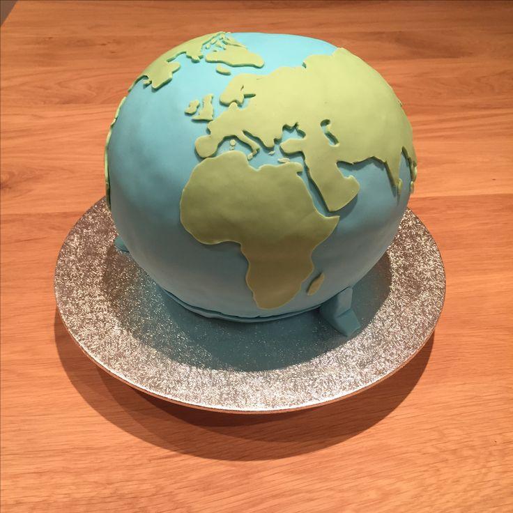 Wereldbol taart #worldmapcake