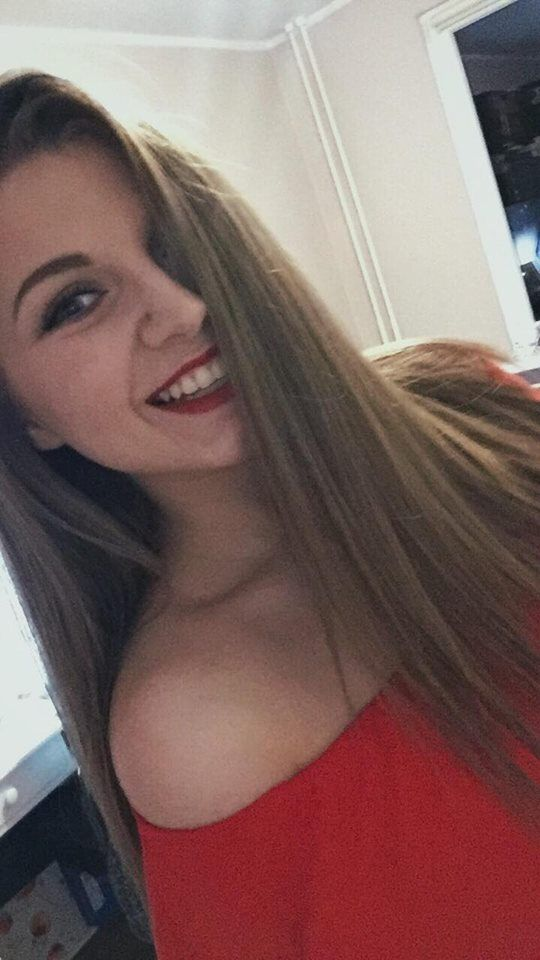 red lips red dress smile selfie