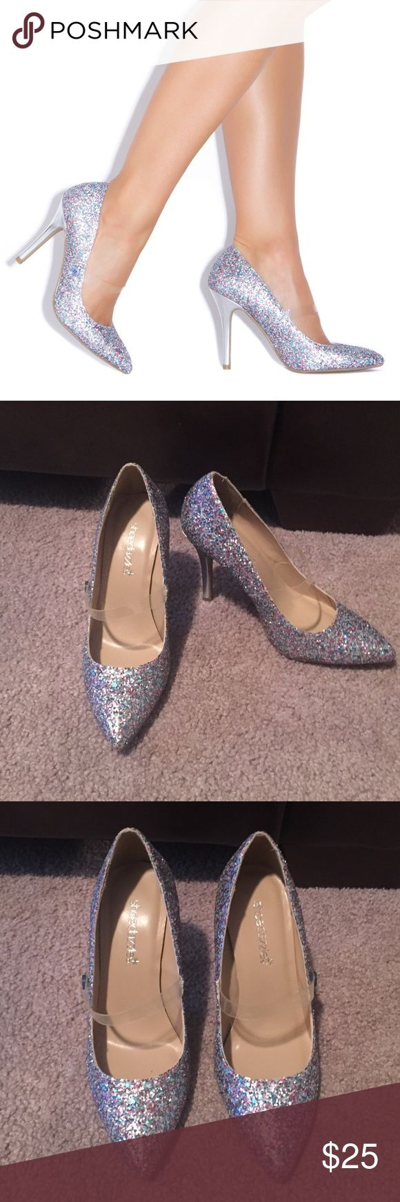 Shoedazzle Magic pumps Cute glittery pumps. Have a transparent strap and heel is silver color. NEW never worn. Shoe Dazzle Shoes Heels