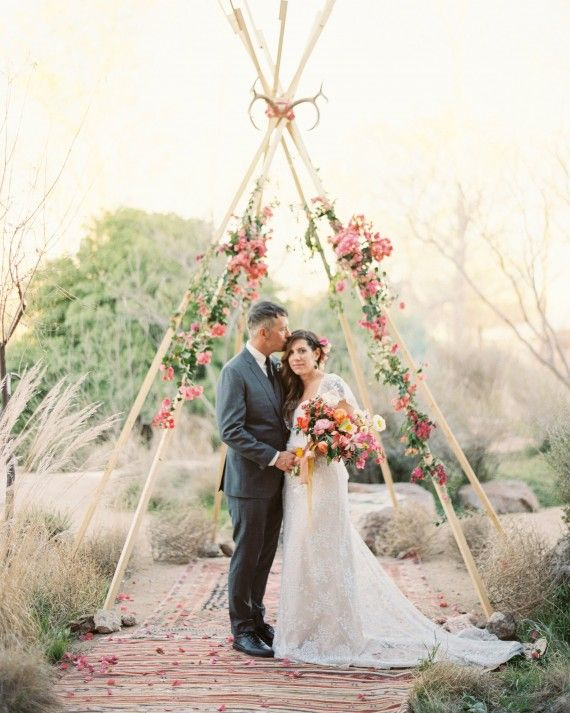 MARFA TEXAS WEDDING: floral bougainvillea teepee by bows and arrows. photography by nbarrett.