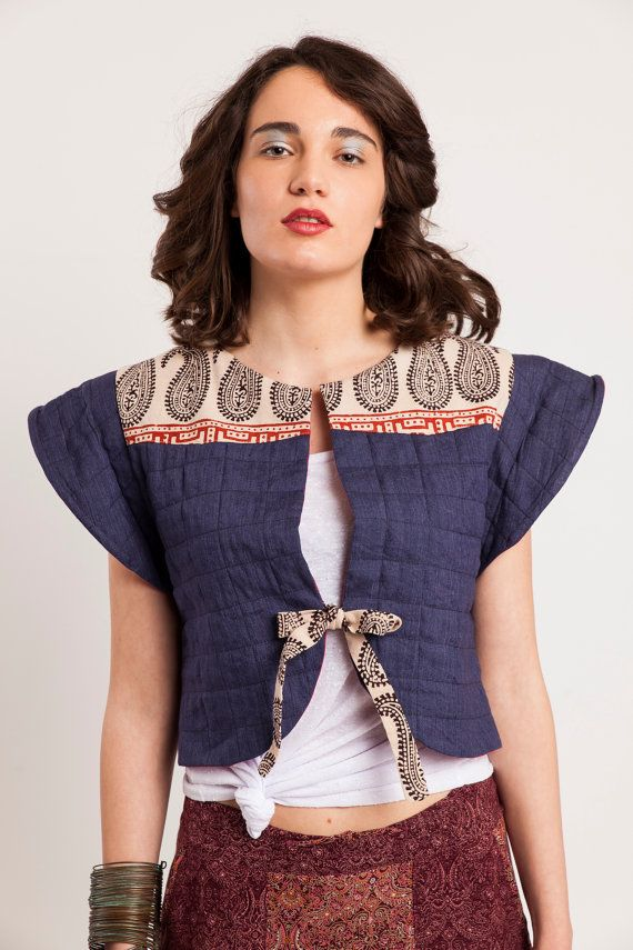 Cropped linen vest with Indian cotton,Festival top,Cropped jacket, Quilted linen blue jacket
