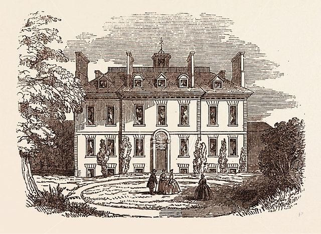 Abney House (1700-1843), Church Street. The gateway still stands as the Church St entrance to Abney Park Cemetery - Stokey N16