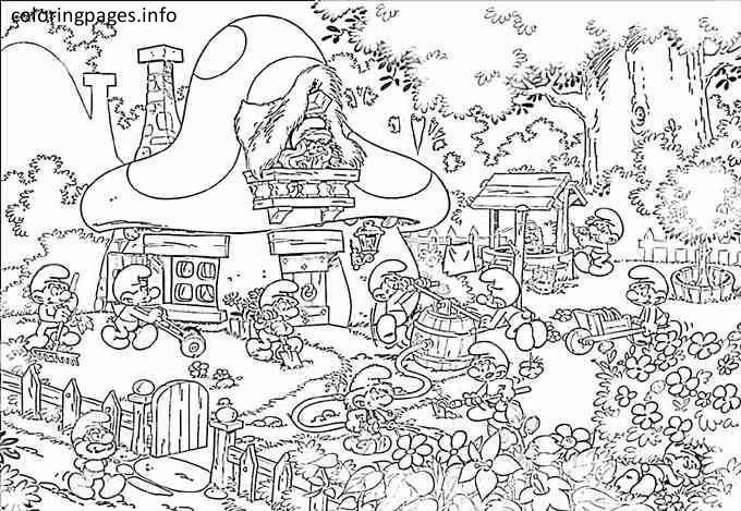 Smurf Village Coloring Pages Coloriage Schtroumpf