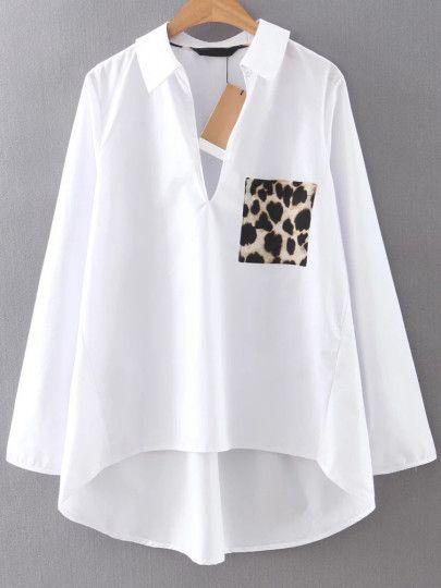 Blusa asimétrica con bolsillo estampado leopardo-Sheinside