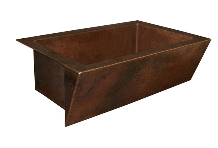 Native Trails CPS.90 Zuma Raked Front Hammered Copper Farmhouse Kitchen Sin at bluebath.com