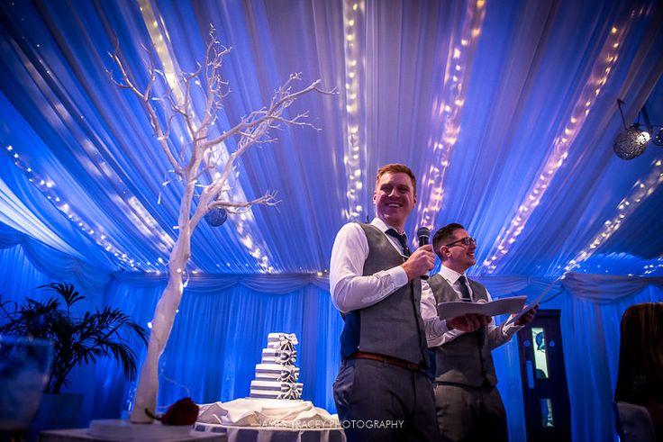 Heaton House Farm Wedding Venue, Cheshire, James Tracey Photography, wedding day, Manzanita Tree, Winter theme wedding, groomsmen speeches