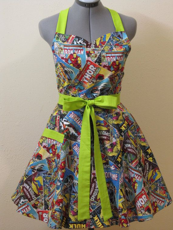 Sweetheart Hostess Apron  Marvel Comics with a by ApronsByVittoria, $35.00