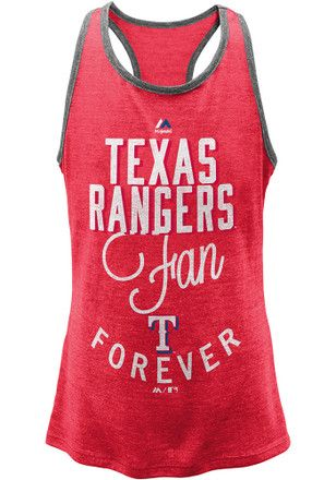 Texas Rangers Girls Red Fan Forever Tank Top