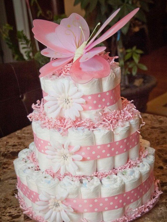 This Beautiful 3 Tier White And Pink Butterfly Baby Girl Diaper