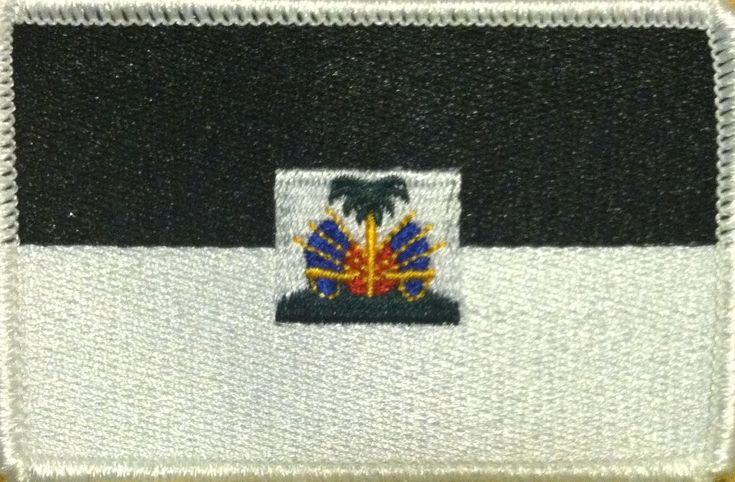 HAITI Flag Patch With VELCRO® Brand Fastener B  & W Version. White Border #02