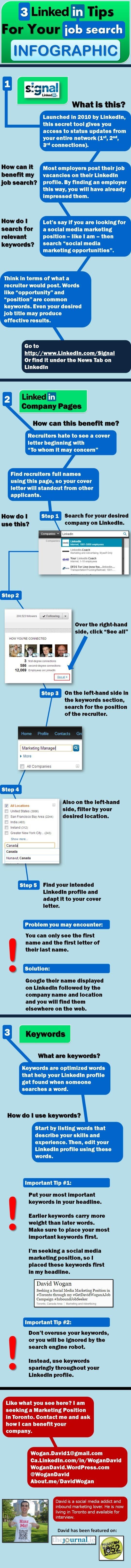 Linkedin tips for your job search #infographic #socialmedia