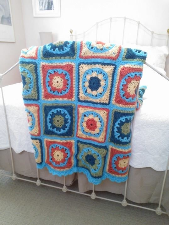 I finished my second crocheted lap afghan. This one is for my daughter.