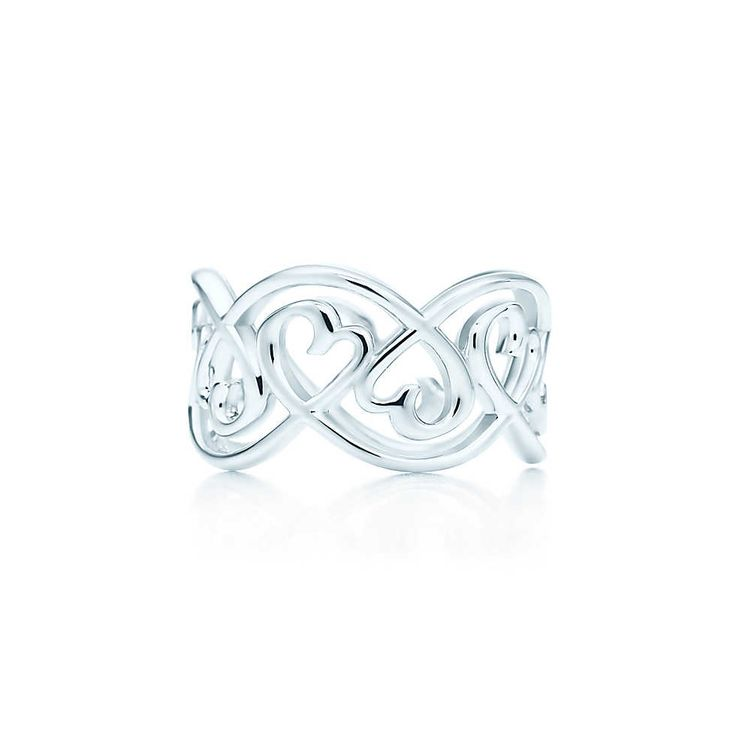 Paloma Picasso® Loving Heart swirl band ring in sterling silver. | Tiffany & Co.