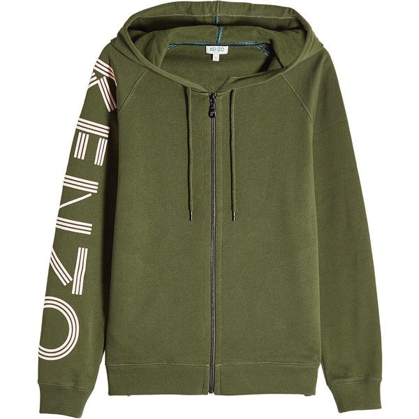 Kenzo Printed Cotton Zipped Hoodie ($440) ❤ liked on Polyvore featuring tops, hoodies, green, green hooded sweatshirt, green zip up hoodies, zip up hoodies, green hoodie and sweatshirt hoodies