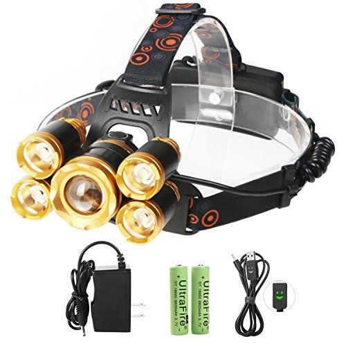 Neolight LED Headlamps, Super Bright 5 CREE LED 8000 Lumens Rechargeable Zoomable Waterproof Head torch Headlight for Outdoor Hiking Camping Hunting Fishing Cycling Running Walking  ★ POWERFUL 8000 LUMENS WHITE LIGHT- A set of 5 high performance LED bulbs deliver 8000 lumens to give you the brightest illumination up to 100,000 hours, and you'll be able to see up to 1640 feet (500 meters) away even when it's pitch dark  ★ RECHARGEABLE & LONG-LIFE BATTERY - Never buy batteries again. Our...