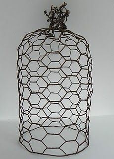 chicken wire cloches ~ these are really easy to make and could sprayed white for Christmas!