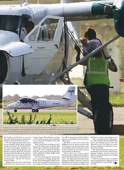 Kate arriving at Mustique with baby George | Hello! Magazine | 10 February 2014