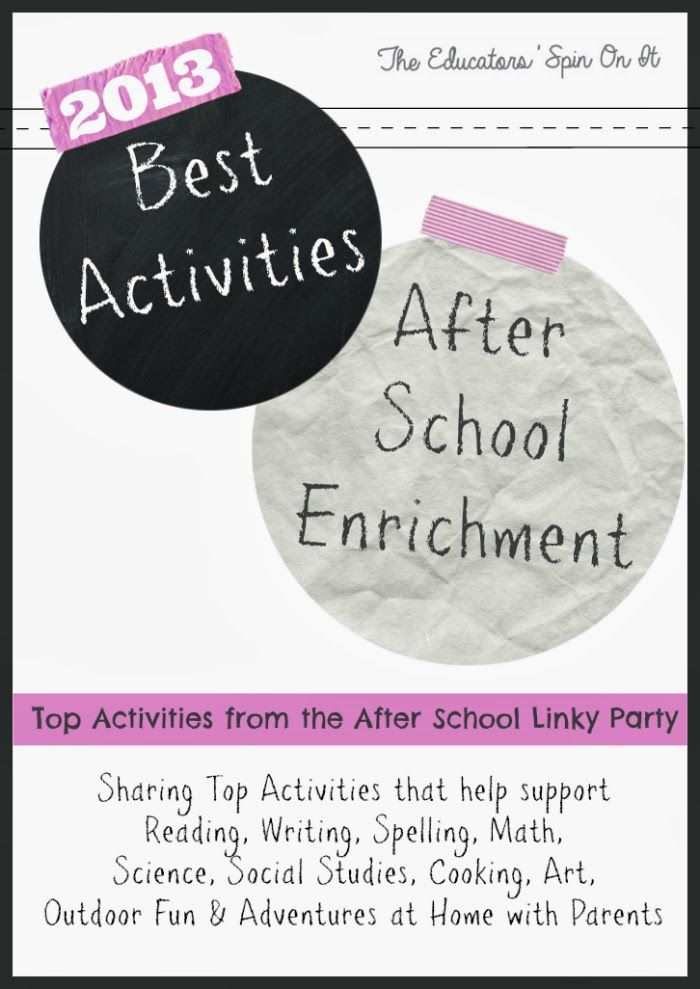Best Activities for After School Enrichment shared by the After School Linky Party Hosts.  Featuring activities that focus on reading, math, writing, science, cooking, art, movement and MORE!