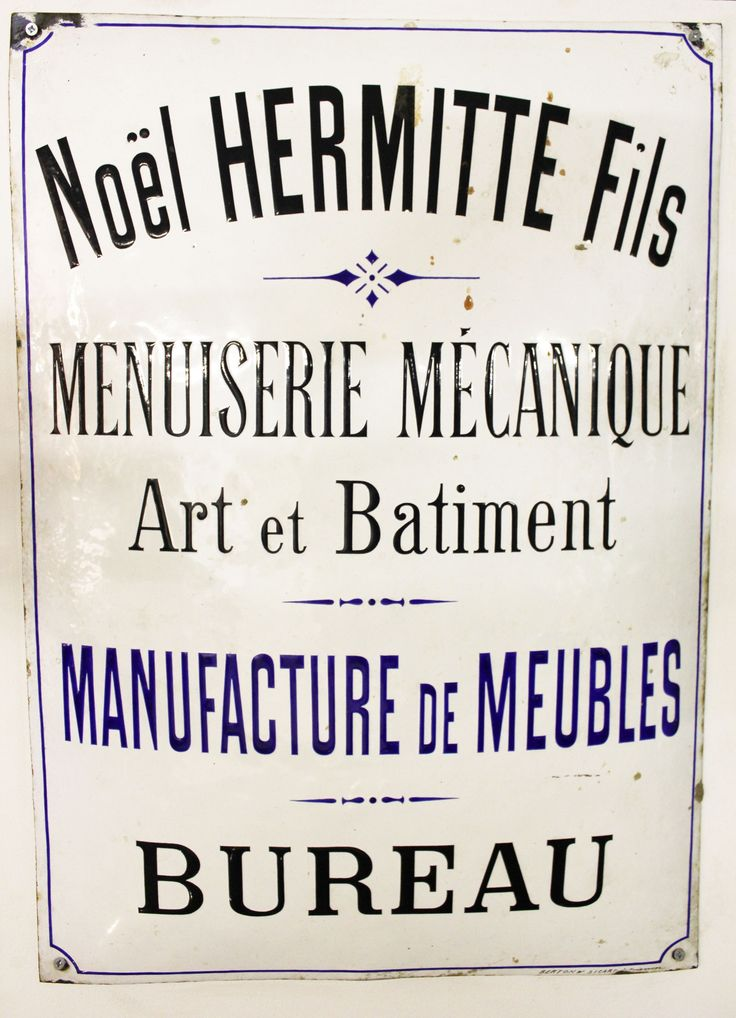 1890 French Enamel Shop Sign
