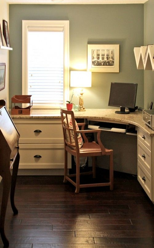 "Custom built-in desk, granite work top, Martha Stewart ""Arrowroot"" paint, Ikea shelving, vintage pieces."