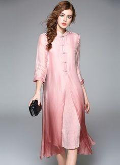 Silk Color Block 1013013/1013013 Sleeves Mid-Calf Vintage Dresses (1013013) @ floryday.com