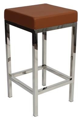 """""""Albany"""" Stainless Steel Frame Backless Padded Bar Stool in Tan - AU$119 - https://www.simplybarstools.com.au/products/albany-stainless-steel-frame-backless-padded-bar-stool-in-tan – Simply Bar Stools  - steel, backless, fixed leg, bar stools. #Australia #Furniture"""
