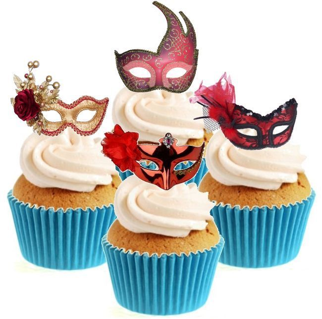 Red Masquerade Mask Collection 12 Edible Stand Up wafer paper cake toppers #Unbranded