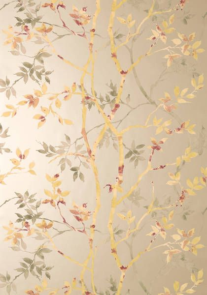 Tyndall wallpaper in gold on Zola collection. Thibaut