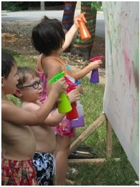spray painting activity for toddlers