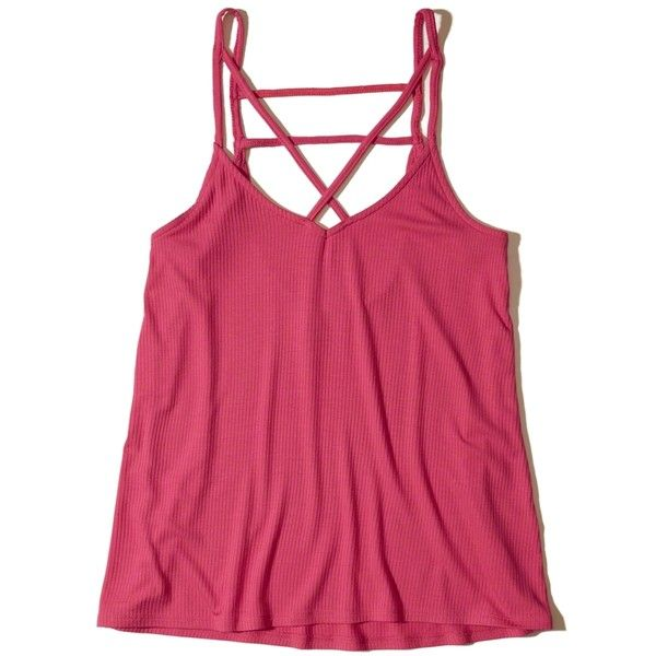 Hollister Strappy Swing Tank ($15) ❤ liked on Polyvore featuring tops, dark pink, strappy top, strappy tank, ribbed tank, rib tank top and spaghetti-strap tops
