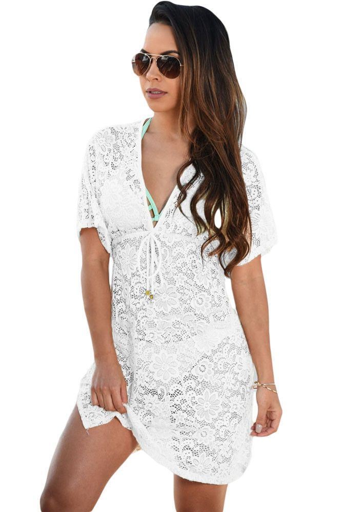 Chicloth White See-through Lace Cover Up Dress