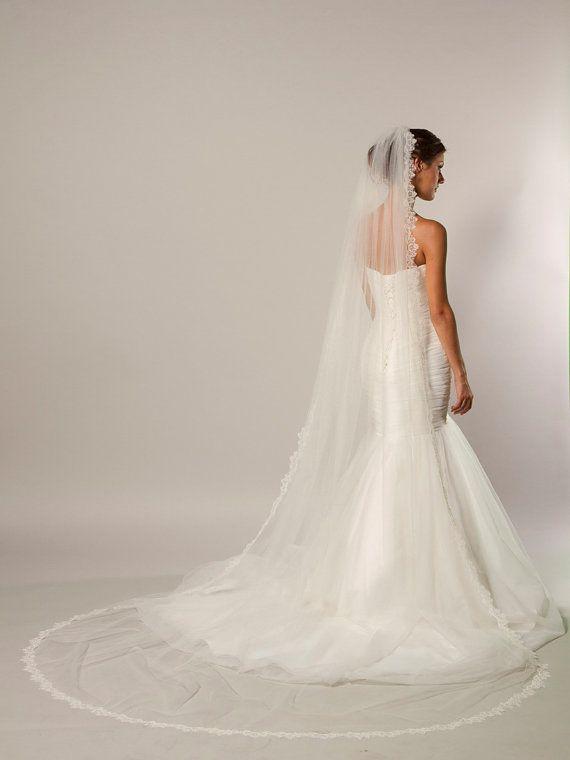 Cathedral Alencon lace veil bridal veil by CoutureBrideBoutique