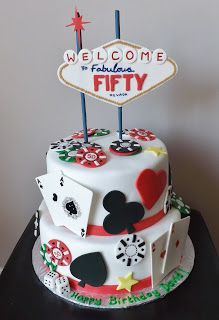 Viva Las Vegas...Happy 50th Birthday Cake.  playing cards, poker chips etc  Sarah's Custom Cakes - Barrie & Innisfil: June 2013