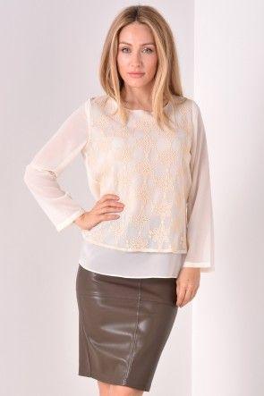 Brea Floral Lace Top in Cream