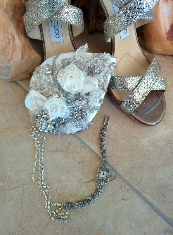Bonzie headpiece, Jimmy Choo and vintage watch