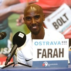 British athlete Mo Farah at press conference before Golden Spike Ostrava athletic meeting