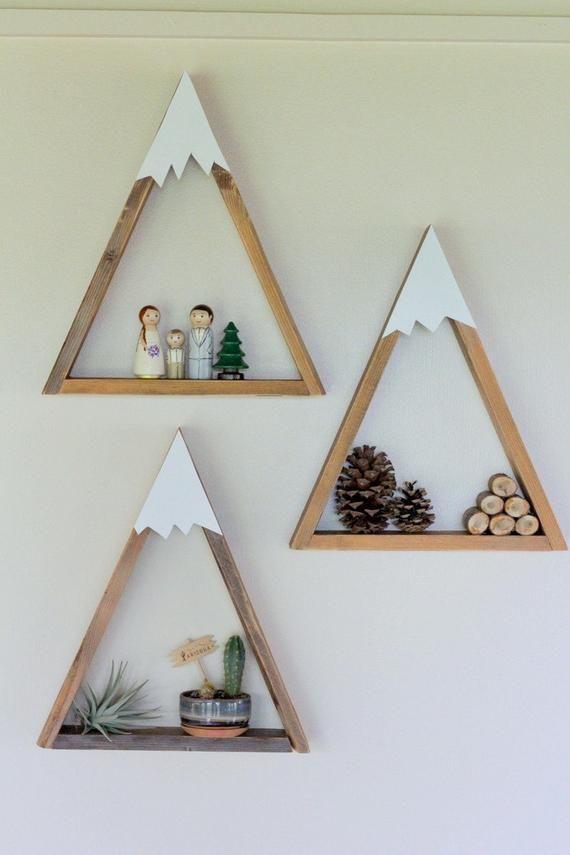 SET OF 3- Woodland Nursery, Mountain Shelf, Geometric Shelf, Floating Shelf, Boy Nursery, Mountain, Nursery Shelf, Reclaimed Wood, Triangle