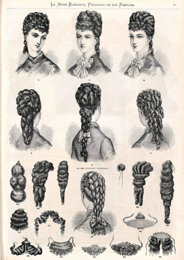 1876. La moda elegante ilustrada. Peinados y accesorios.