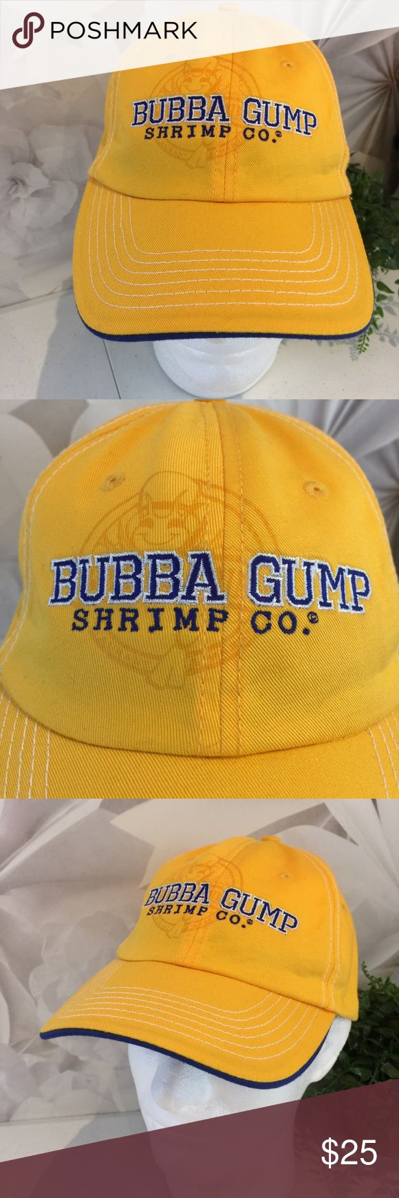 Bubba Gump Shrimp Co Hat Embroidered Las Vegas This listing is for a Bubba Gump Shrimp Company Yellow Hat Authentic Embroidered Logo OS. Las Vegas embroidered on back.  We LOVE finding unique and special hats ... of all kinds. Some are new and some have been pre-owned. We sell NFL, NBA, NHL, and AMERICAN and NATIONAL LEAGUE BASEBALL hats. NCAA hats and NASCAR hats. We find other great hats like this one ...  Comes from a smoke free and pet free environment. Hat will be shipped in a box to…